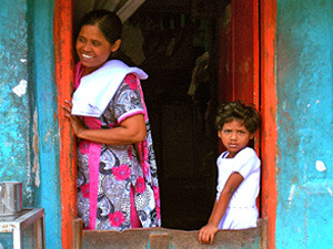local woman and child in homestay in sri lanka