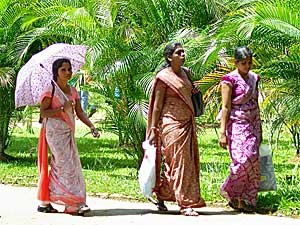 Local women strolling in the sun