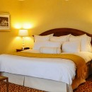 Hotel room with a huge double bed