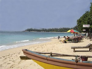 White sand and boat on the beach