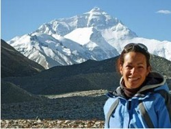 trekker at mount everest