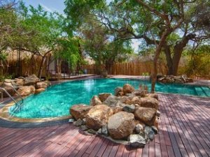 Trincomalee hotel outdoor pool with trees and sitting areas