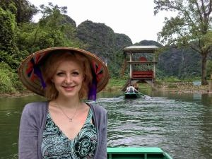 woman on boat in ninh binh vietnam