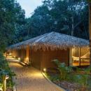 anavilhanas thatched roof huts with lit walkway