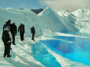 trekking on glacier in Argentina