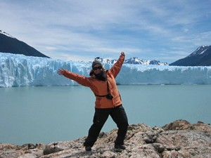 Staff member Jennifer in front of glaciers in Patagonia, Argentina