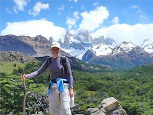woman trekking in patagonia