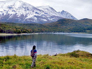tierra del fuego landscape with woman