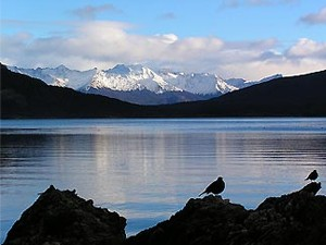 View across Tierra Fuego lake in Argentina