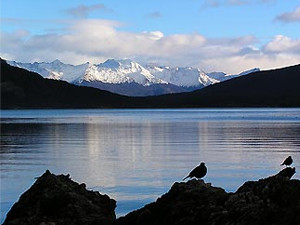 View across the waters of Tierra Fuego Argentina