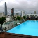 Hotel pool on top floor surrounded by skyscrapers