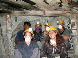 Bolivia customers on tour of mine