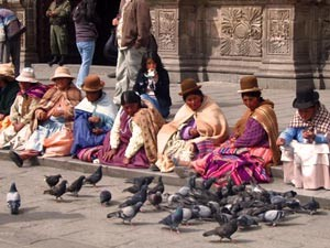 woman sitting on the street with birds