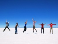 customers jumping on salt flats