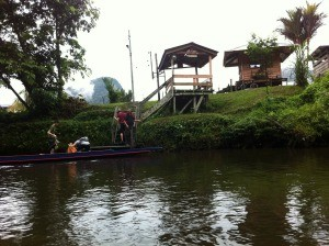 locals along river in borneo