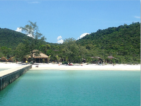 View towards the white sandy beach of Koh Rong island in Cambodia