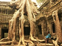 girl sitting by huge tree overgrown temple cambodia