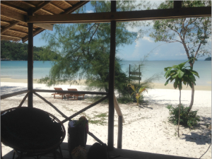 view from bungalow out to beach in cambodia