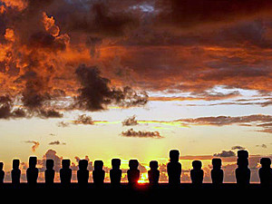 Moai statues at sunset