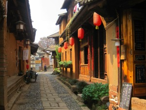 red lanterns in Shaxi, China