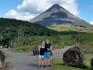 Couple hiking in Arenal National Park, Costa Rica