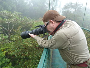 Guide taking photographs of the jungle on hanging bridge in Costa Rica