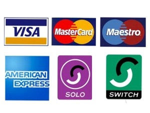 logos of accepted credit card visa mastercard maestro american express solo switch