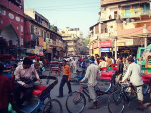 colourful street scene in delhi
