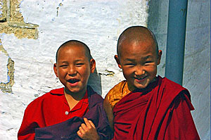 India young monks smiling