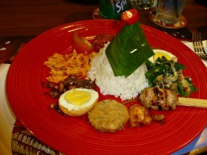 indonesia plate of food rice and egg