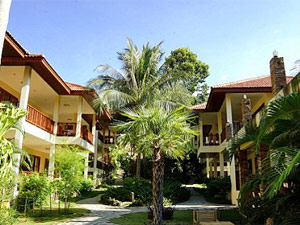 Thailand island hotel courtyard with palm trees