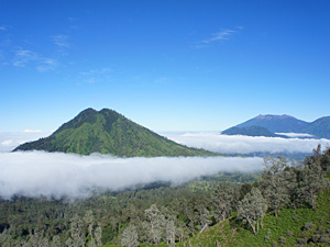 View of a volcano in Ijen, Java