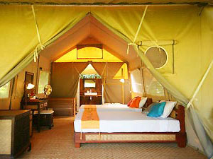 kanchanaburi tent accommodation with bed