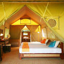 kanchanaburi tented hotel room with bed