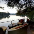 kanchanaburi hotel terrace outdoor seating area overlooking river
