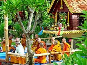 local monks in orange clothes