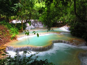 Turquoise waterfalls in Laos