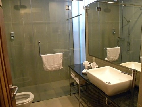Malaysia bathroom with toilet sink and shower
