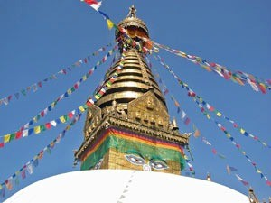 temple with colorful flags in nepal