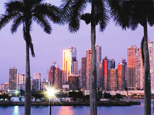 View of Panama City skyline at nightfall with the lights twinkling
