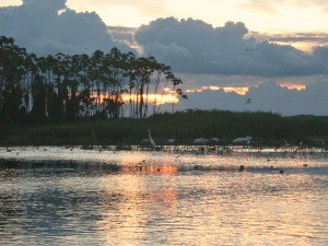sunset on amazon river in peru