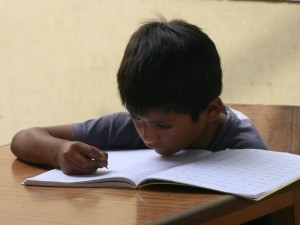 boy learning from book