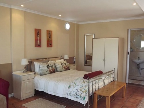 The bedroom of our standard accommodation in Knysna in South Africa