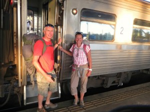 couple by train in thailand