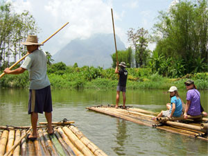 Thai men rafting