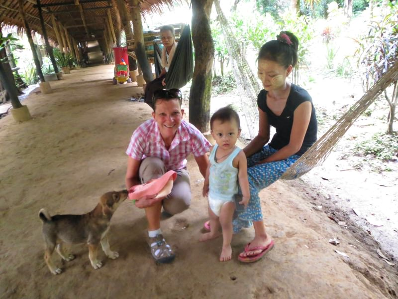 woman with locals in thailand
