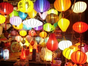 Market stall in Hoi An full of colourful lanterns