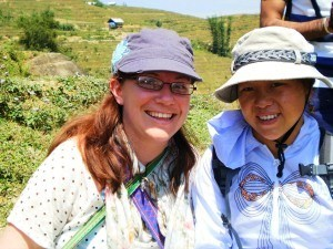 rickshaw staff member with local guide in sapa
