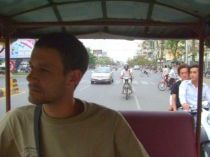 Travel specialist Ross in the back of a tuk tuk