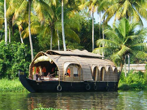 Floating houseboat in Kerala India
